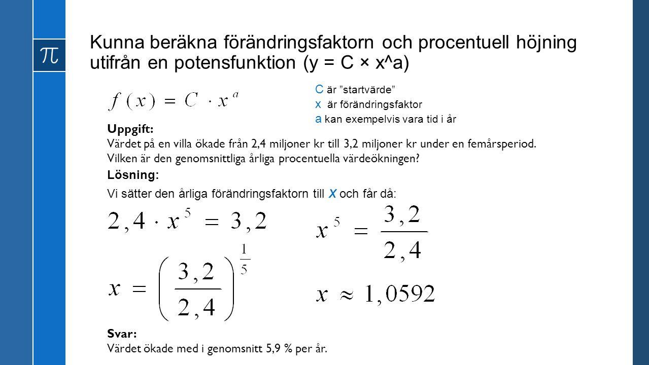 Kunna beräkna förändringsfaktorn och procentuell höjning utifrån en potensfunktion (y = C × x^a)