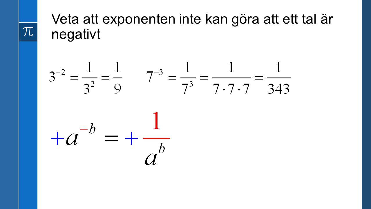 Veta att exponenten inte kan göra att ett tal är negativt