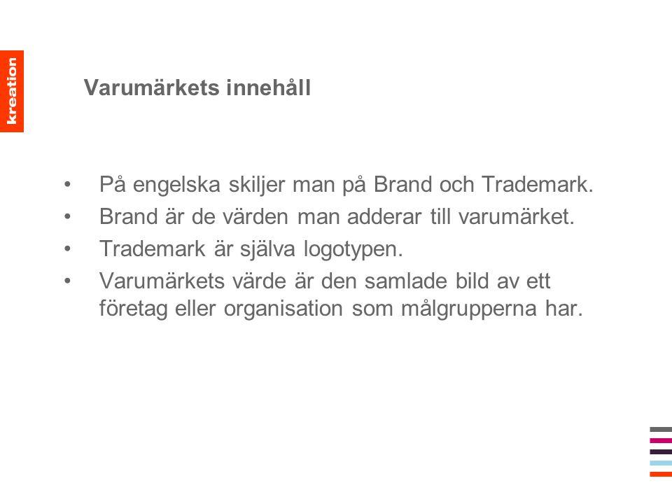 Varumärkets innehåll På engelska skiljer man på Brand och Trademark. Brand är de värden man adderar till varumärket.