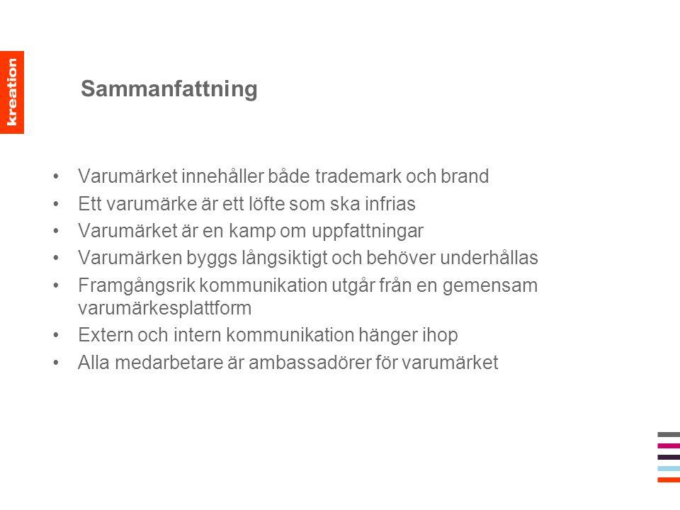 Sammanfattning Varumärket innehåller både trademark och brand