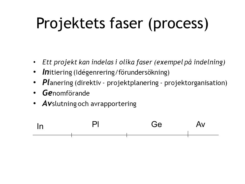 Projektets faser (process)