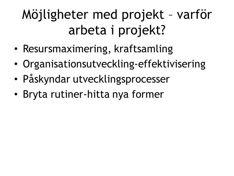 Möjligheter med projekt – varför arbeta i projekt