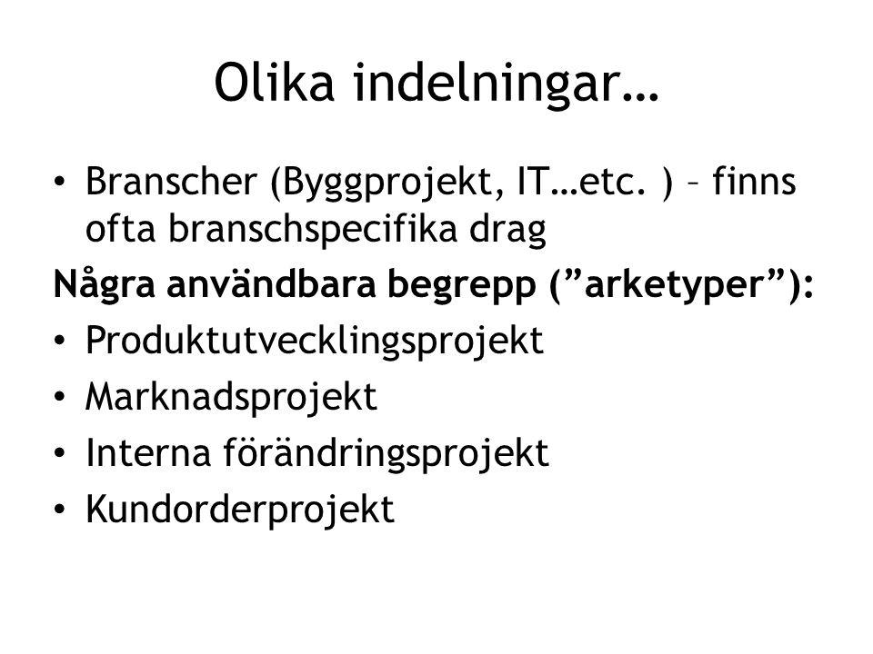 Olika indelningar… Branscher (Byggprojekt, IT…etc. ) – finns ofta branschspecifika drag. Några användbara begrepp ( arketyper ):