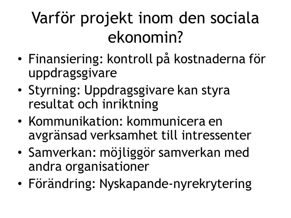 Varför projekt inom den sociala ekonomin