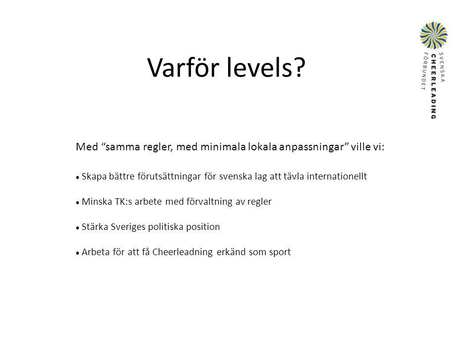 Varför levels Med samma regler, med minimala lokala anpassningar ville vi: Skapa bättre förutsättningar för svenska lag att tävla internationellt.