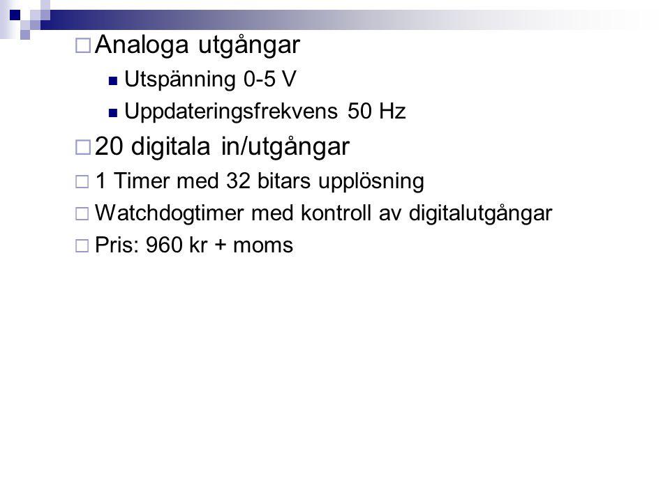 Analoga utgångar 20 digitala in/utgångar Utspänning 0-5 V