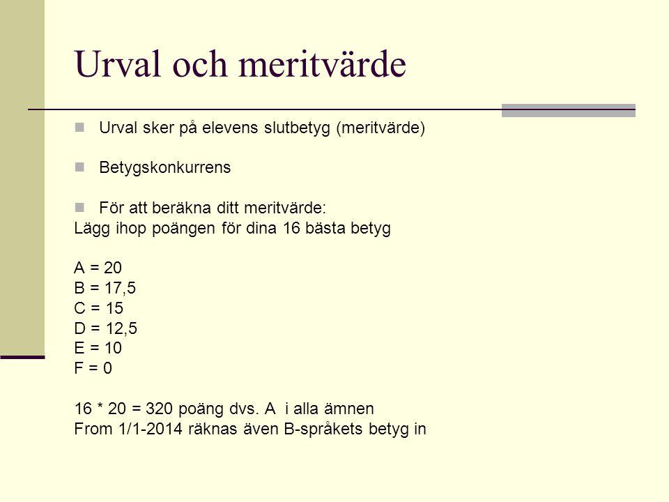 Urval och meritvärde Urval sker på elevens slutbetyg (meritvärde)