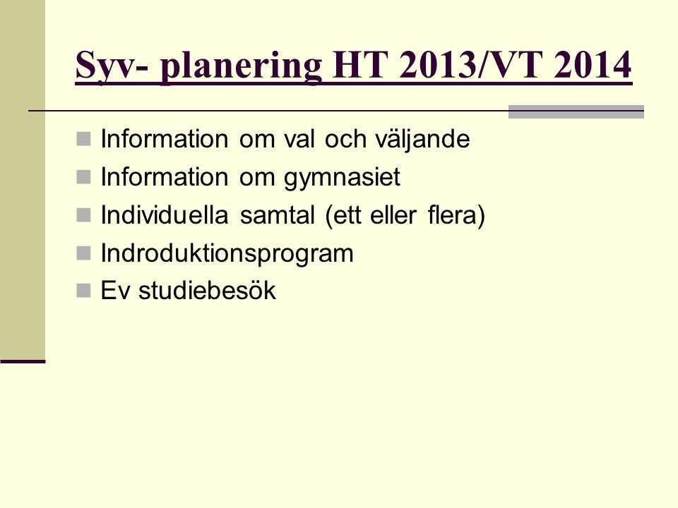 Syv- planering HT 2013/VT 2014 Information om val och väljande