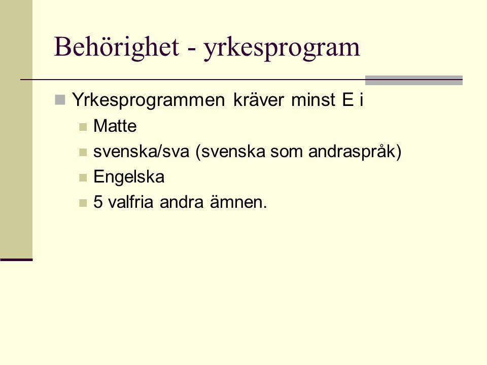 Behörighet - yrkesprogram