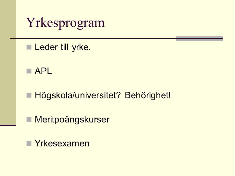Yrkesprogram Leder till yrke. APL Högskola/universitet Behörighet!