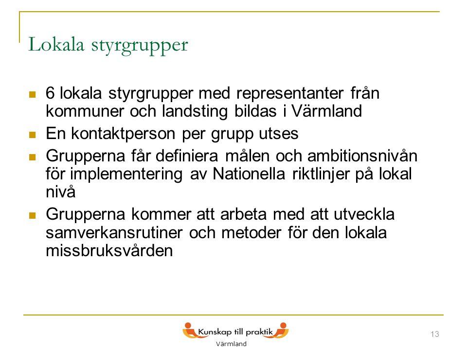 Lokala styrgrupper 6 lokala styrgrupper med representanter från kommuner och landsting bildas i Värmland.