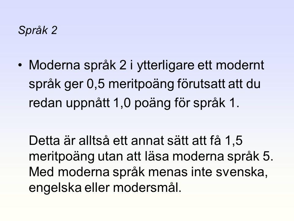 Moderna språk 2 i ytterligare ett modernt