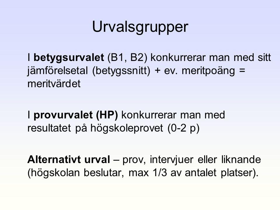 Urvalsgrupper I betygsurvalet (B1, B2) konkurrerar man med sitt jämförelsetal (betygssnitt) + ev. meritpoäng = meritvärdet.