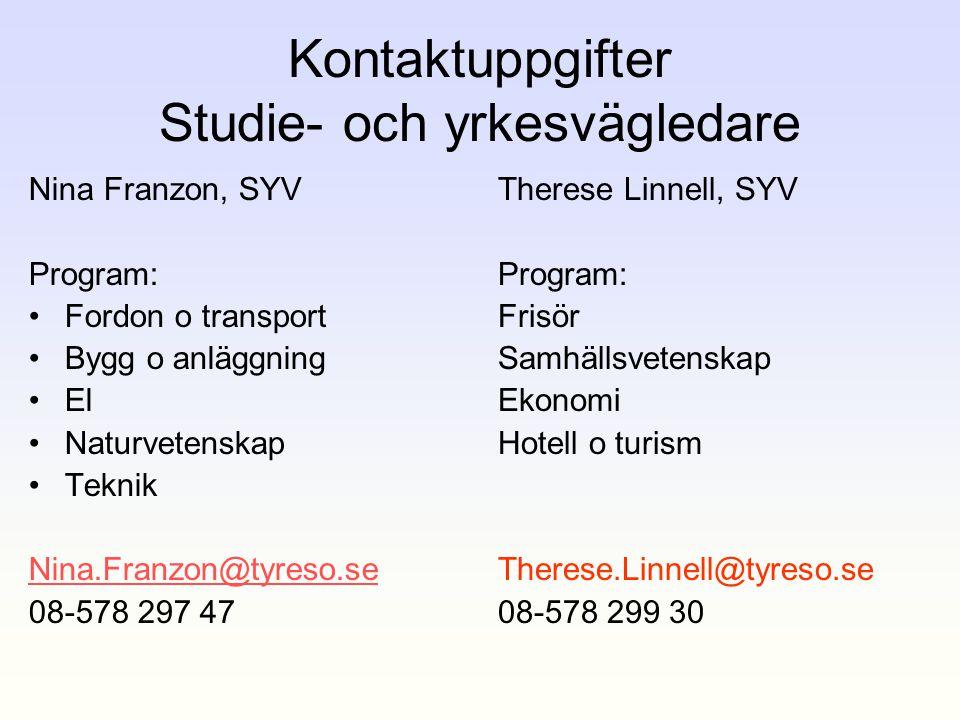 Kontaktuppgifter Studie- och yrkesvägledare