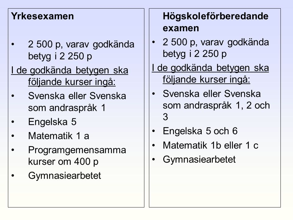 Yrkesexamen 2 500 p, varav godkända betyg i 2 250 p. I de godkända betygen ska följande kurser ingå: