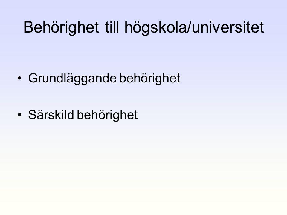 Behörighet till högskola/universitet