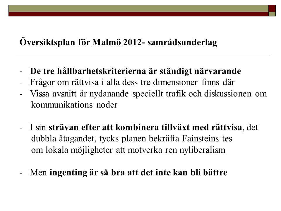 Översiktsplan för Malmö 2012- samrådsunderlag