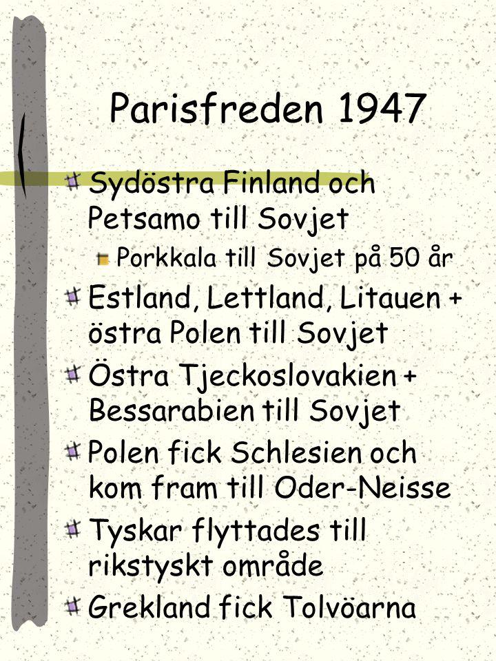Parisfreden 1947 Sydöstra Finland och Petsamo till Sovjet