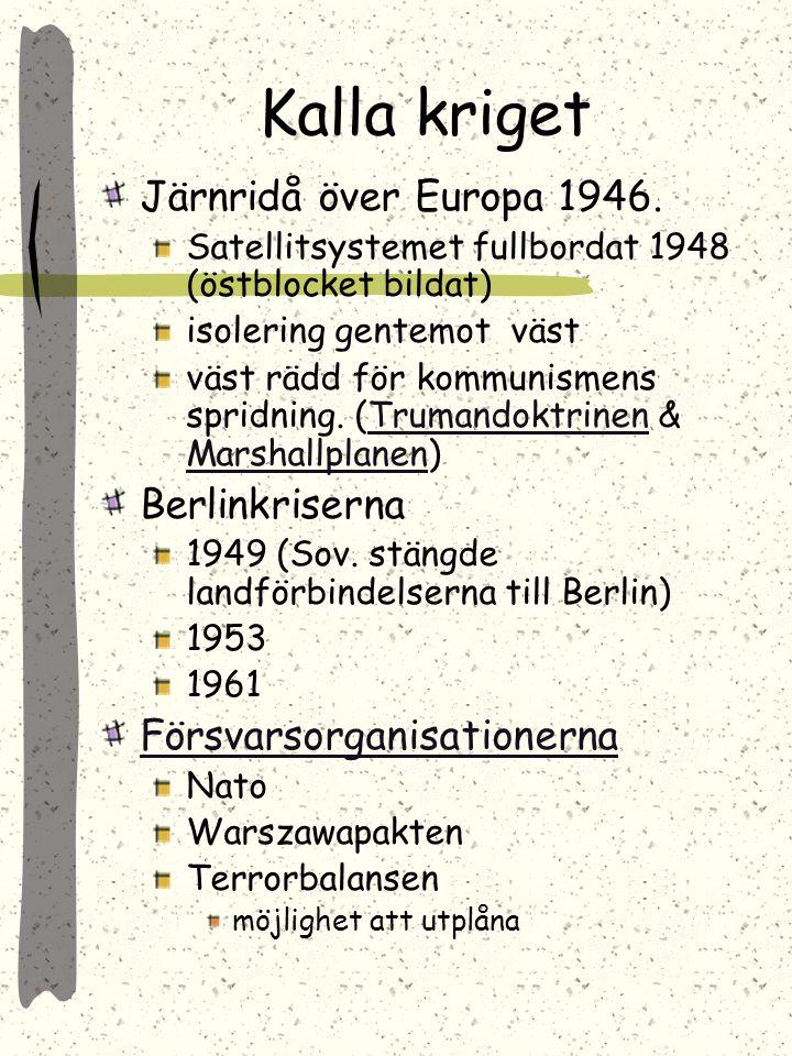 Kalla kriget Järnridå över Europa 1946. Berlinkriserna
