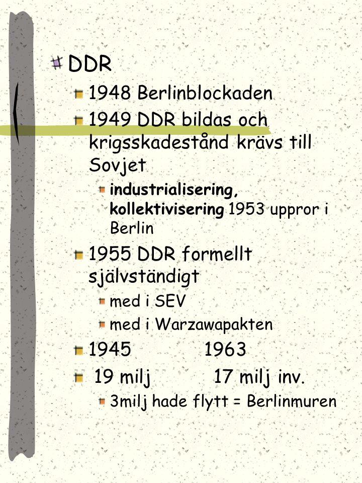 DDR 1948 Berlinblockaden. 1949 DDR bildas och krigsskadestånd krävs till Sovjet. industrialisering, kollektivisering 1953 uppror i Berlin.