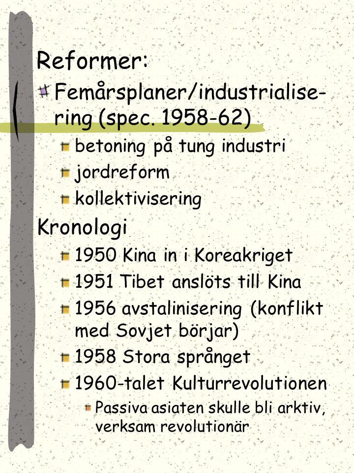 Reformer: Femårsplaner/industrialise-ring (spec. 1958-62) Kronologi