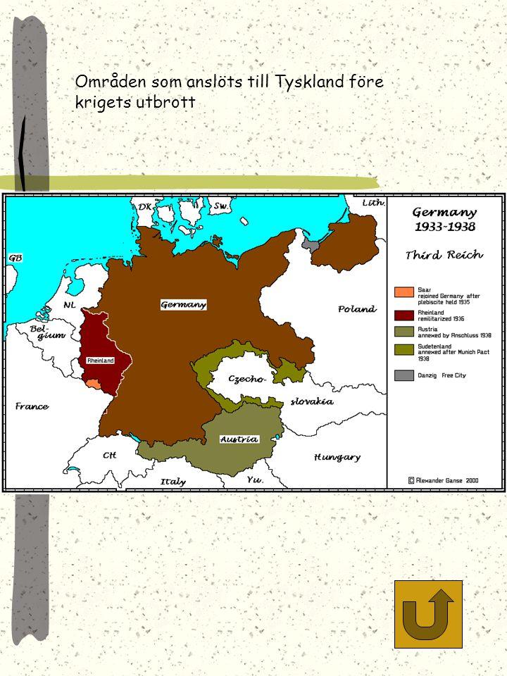 Områden som anslöts till Tyskland före krigets utbrott