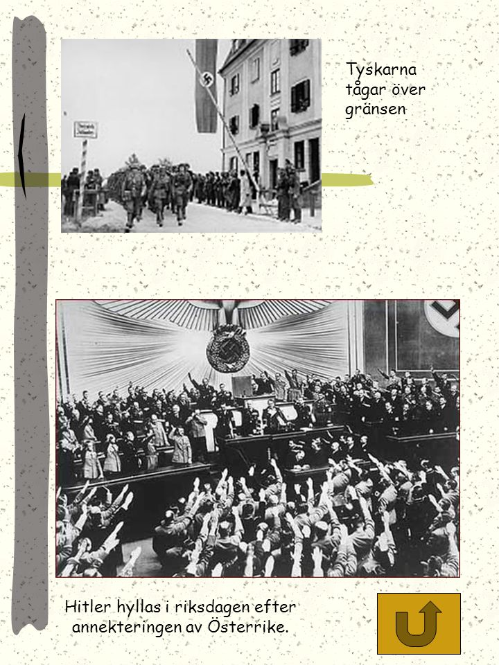Hitler hyllas i riksdagen efter annekteringen av Österrike.