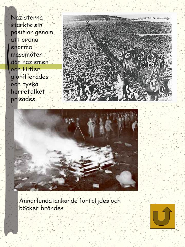 Nazisterna stärkte sin position genom att ordna enorma massmöten där nazismen och Hitler glorifierades och tyska herrefolket prisades.