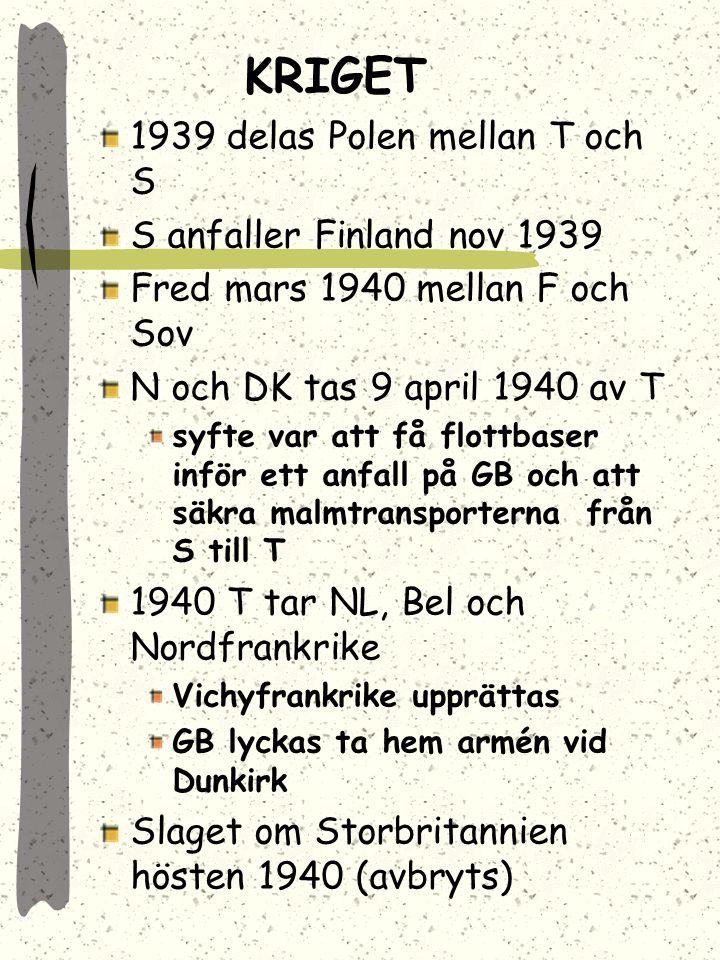 KRIGET 1939 delas Polen mellan T och S S anfaller Finland nov 1939