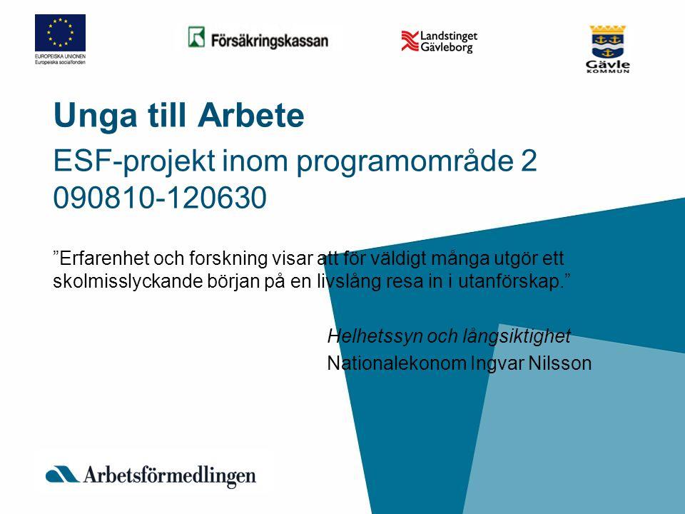 Unga till Arbete ESF-projekt inom programområde 2 090810-120630