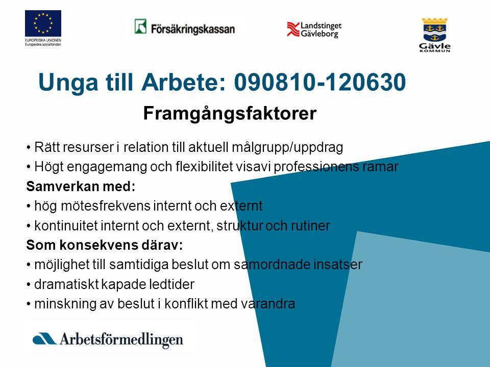 Unga till Arbete: 090810-120630 Framgångsfaktorer