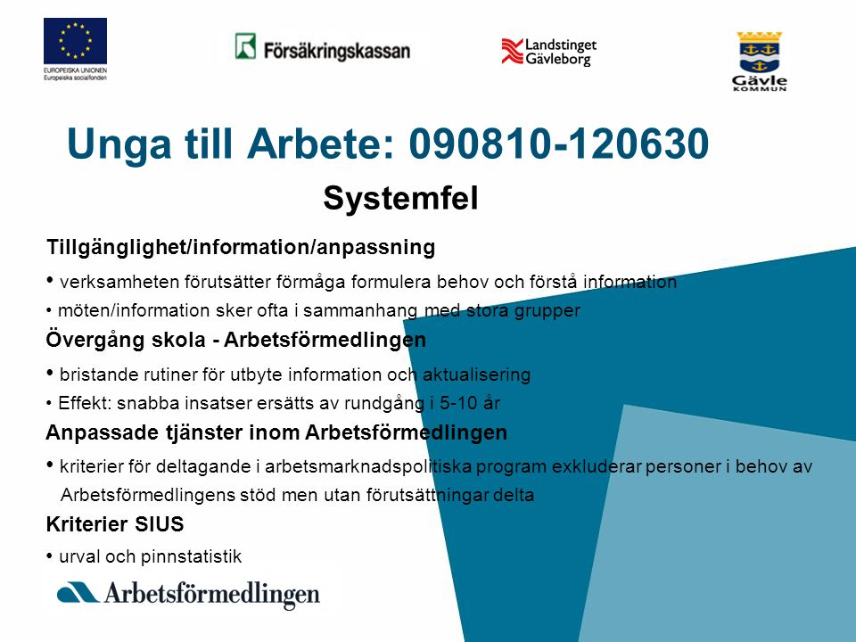 Unga till Arbete: 090810-120630 Systemfel