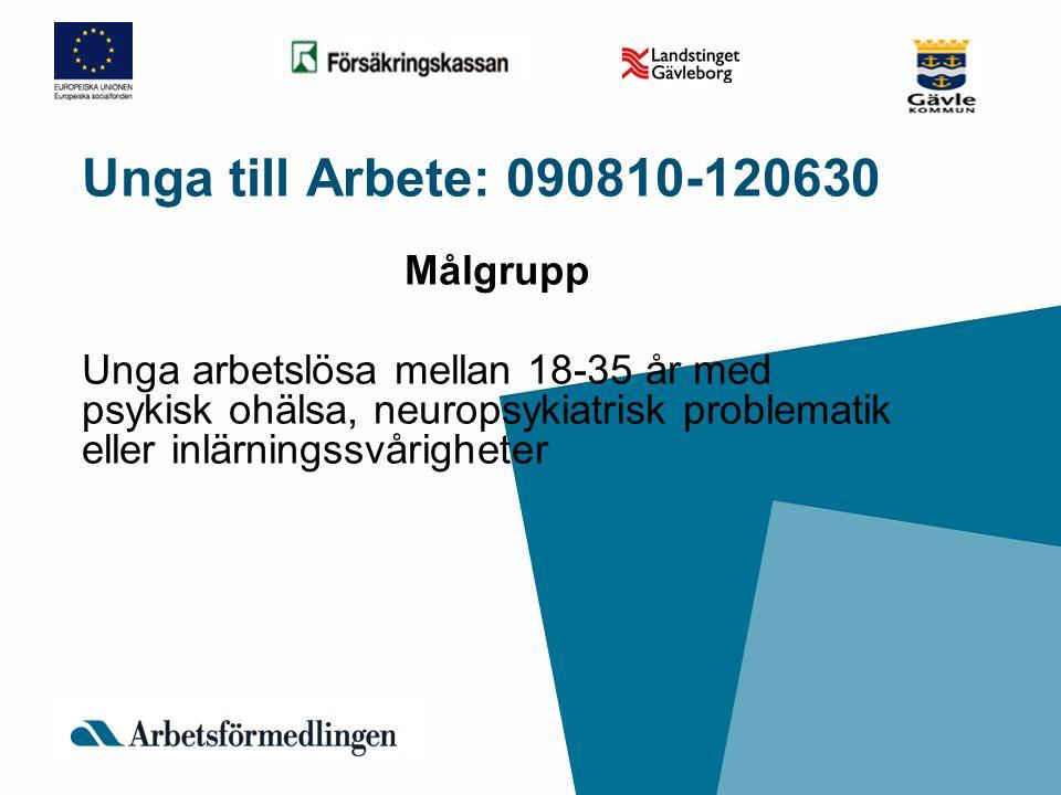 Unga till Arbete: 090810-120630 Målgrupp