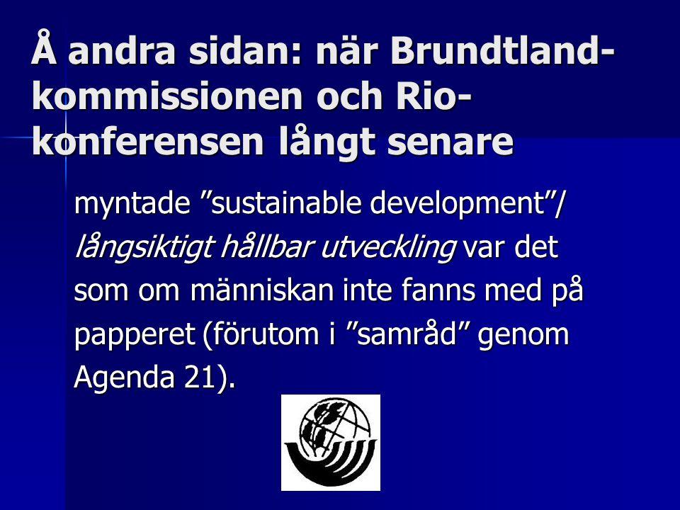 Å andra sidan: när Brundtland-kommissionen och Rio-konferensen långt senare