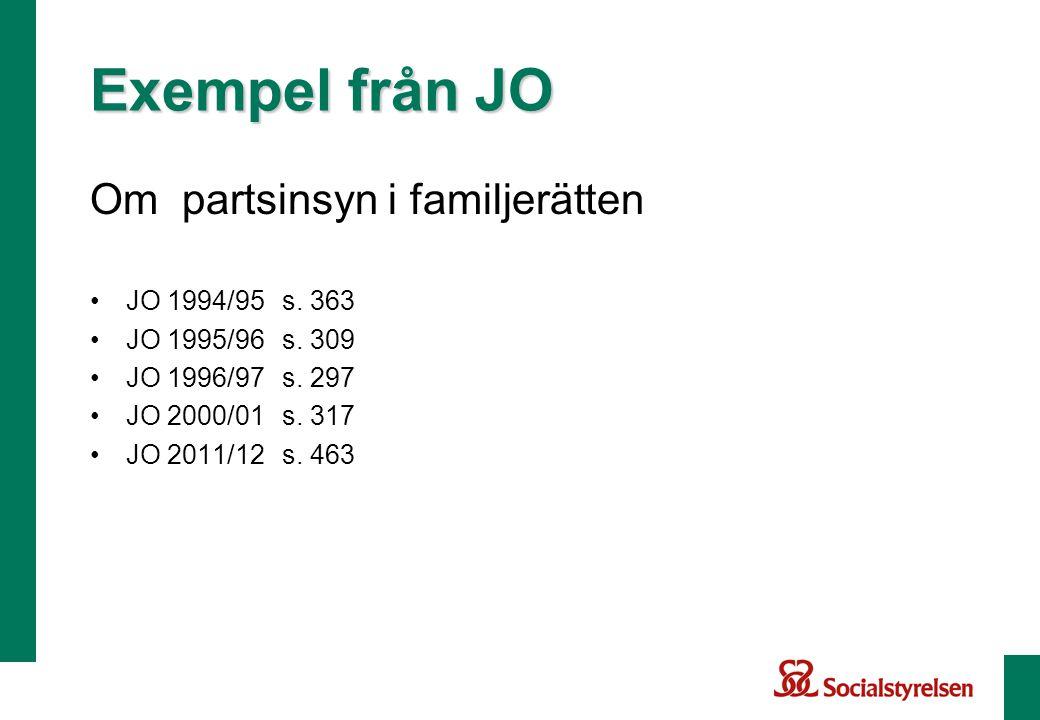 Exempel från JO Om partsinsyn i familjerätten JO 1994/95 s. 363