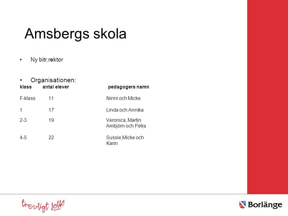 Amsbergs skola Organisationen: Ny bitr.rektor