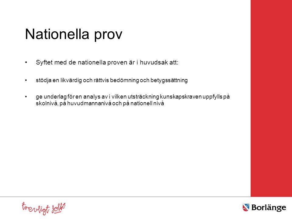 Nationella prov Syftet med de nationella proven är i huvudsak att: