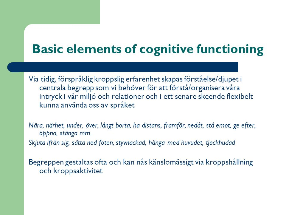 Basic elements of cognitive functioning
