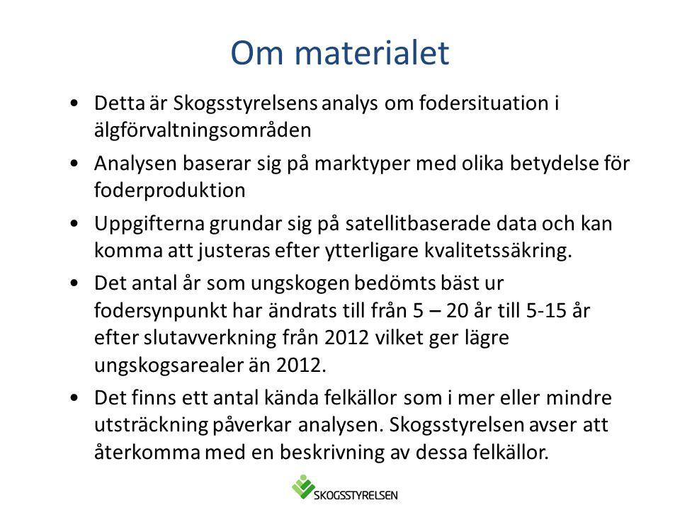 Om materialet Detta är Skogsstyrelsens analys om fodersituation i älgförvaltningsområden.