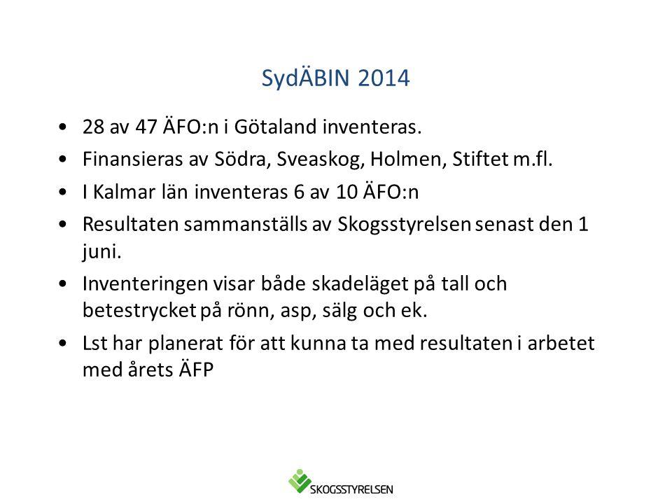 SydÄBIN 2014 28 av 47 ÄFO:n i Götaland inventeras.