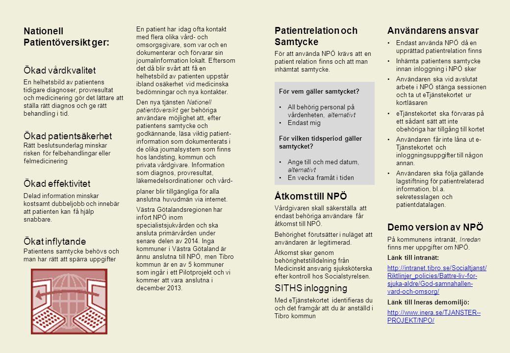 Platshållare för bild Nationell Patientöversikt ger: Ökad vårdkvalitet