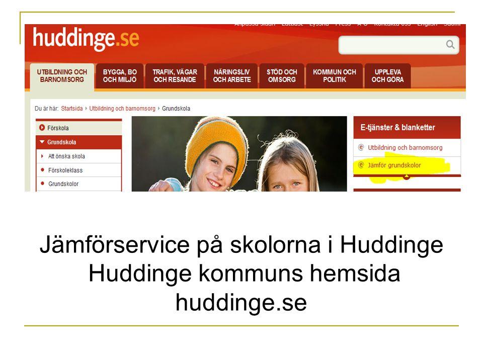 Jämförservice på skolorna i Huddinge Huddinge kommuns hemsida