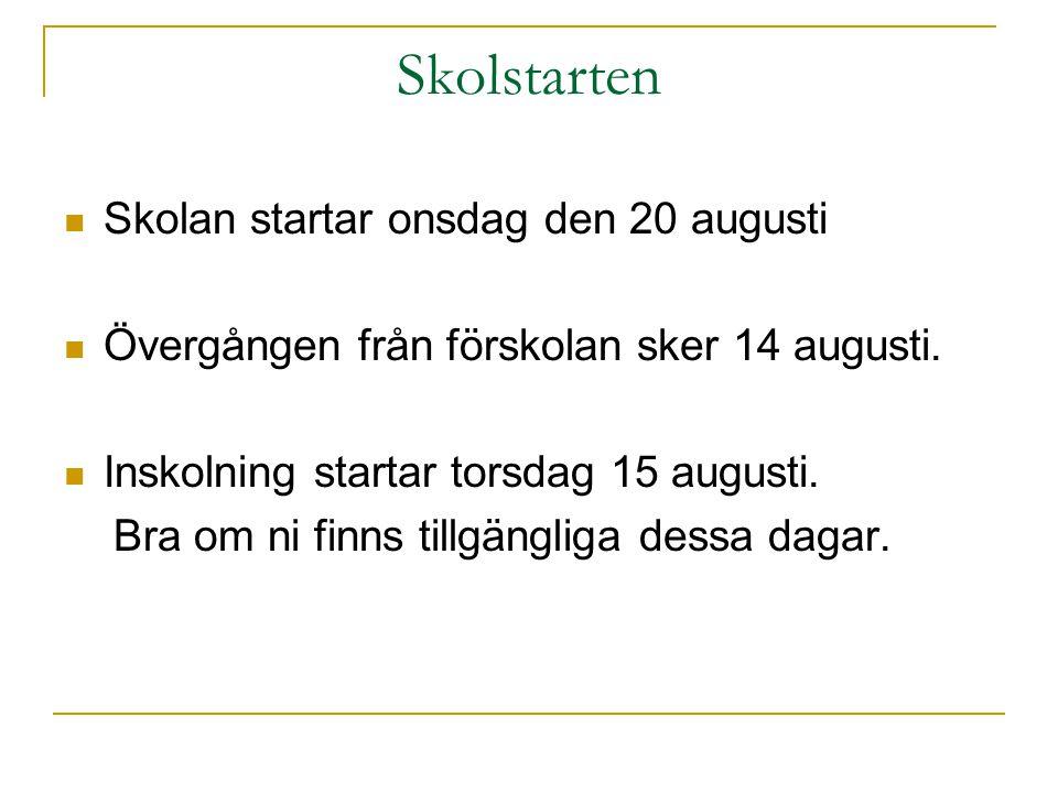 Skolstarten Skolan startar onsdag den 20 augusti