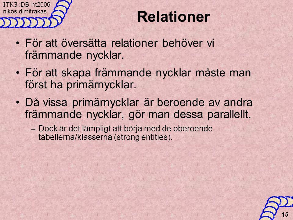 Relationer För att översätta relationer behöver vi främmande nycklar.