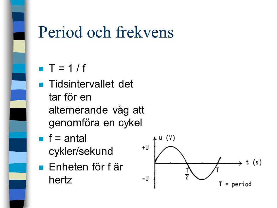 Period och frekvens T = 1 / f