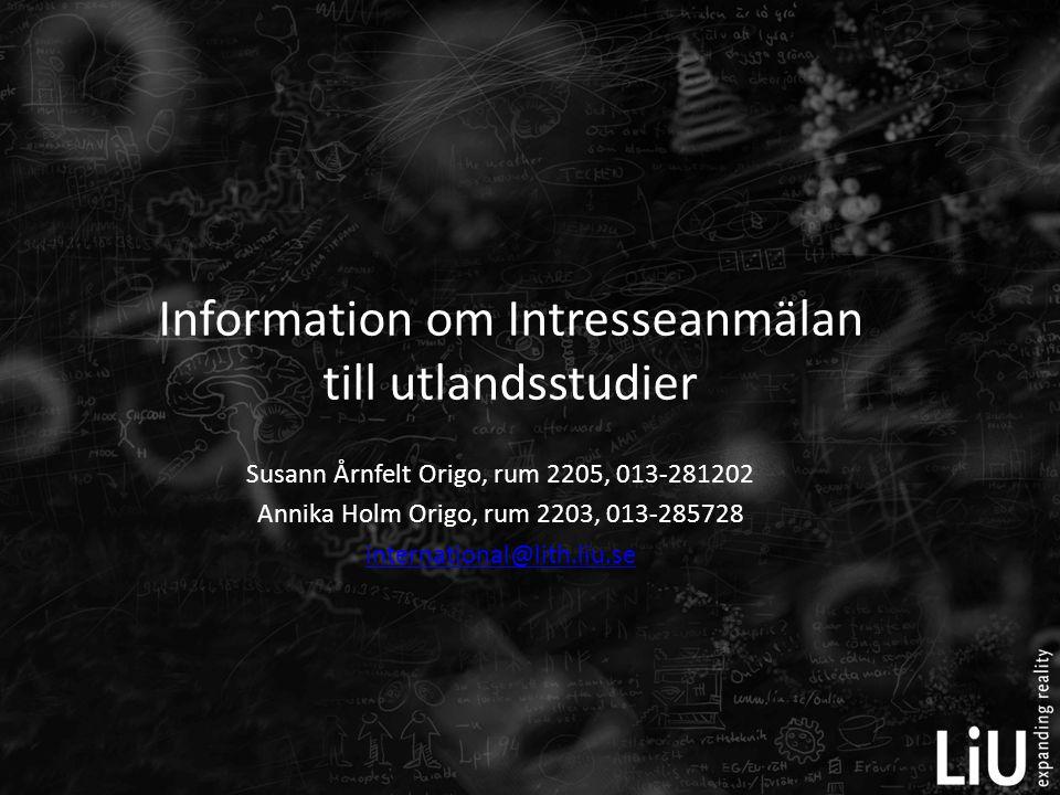 Information om Intresseanmälan till utlandsstudier