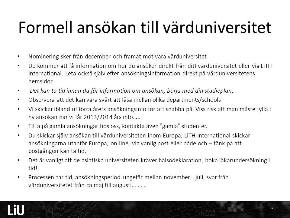 Formell ansökan till värduniversitet