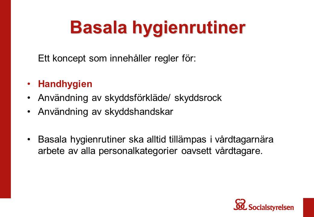 Basala hygienrutiner Ett koncept som innehåller regler för: Handhygien