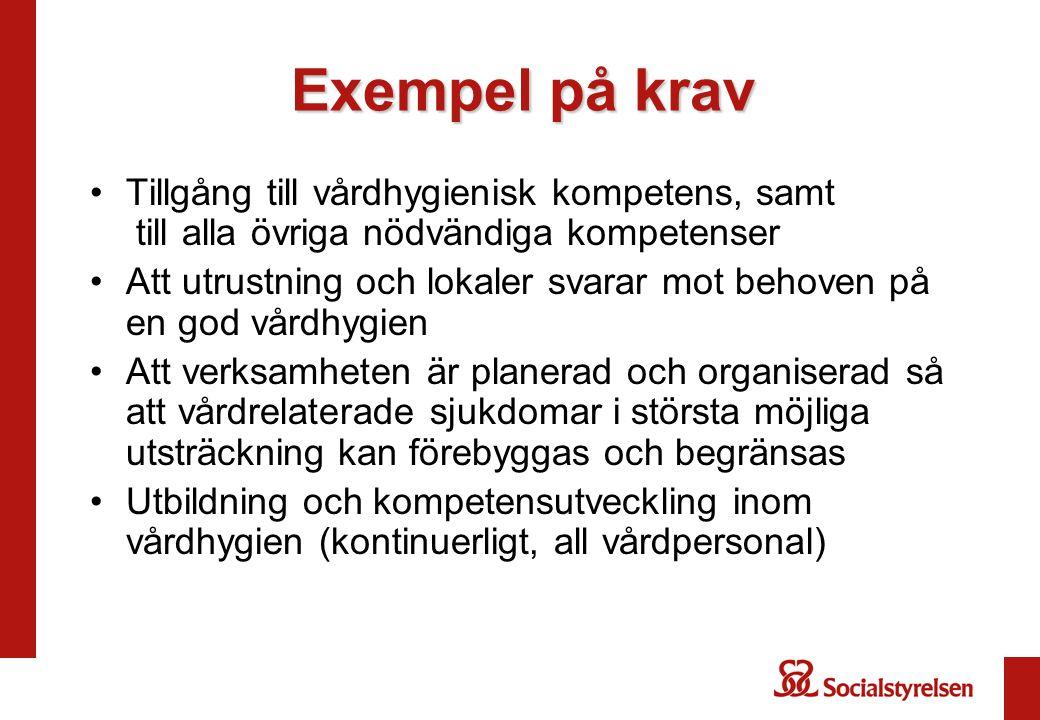 Exempel på krav Tillgång till vårdhygienisk kompetens, samt till alla övriga nödvändiga kompetenser.
