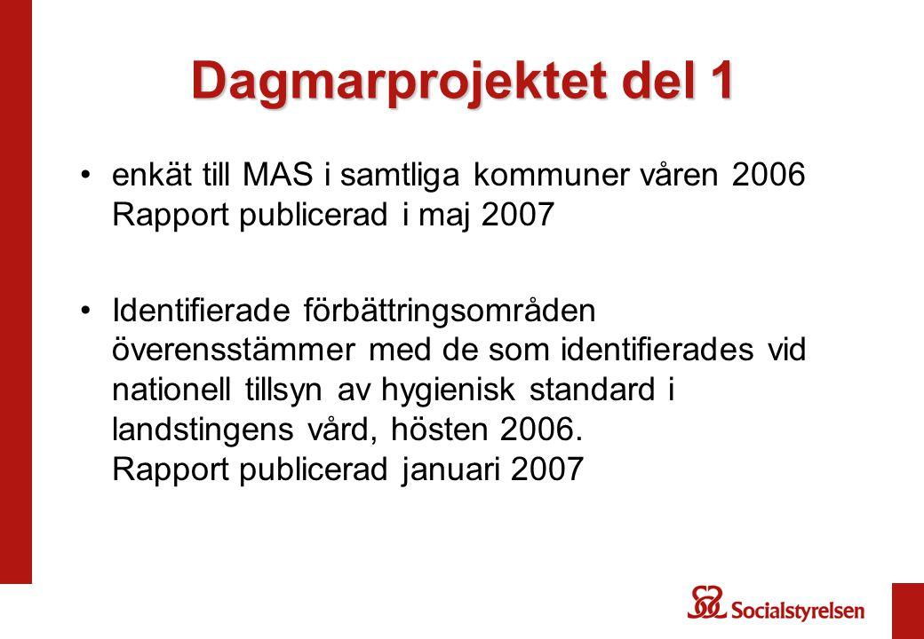Dagmarprojektet del 1 enkät till MAS i samtliga kommuner våren 2006 Rapport publicerad i maj 2007.